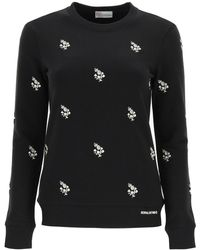 RED Valentino Sweatshirt With Clover Embroidery - Black