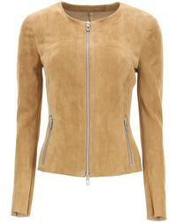 DROMe Suede Jacket S Leather - Natural
