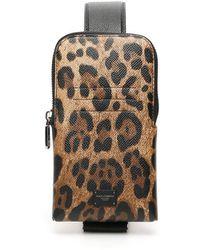 Dolce & Gabbana PHONE BAG CROSSBODY STAMPA LEO - Multicolore