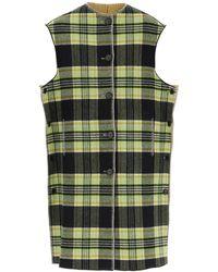Marni Long Reversible Vest In Wool 42 Wool - Green