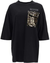 N°21 T-shirt With Sequined Pocket - Black