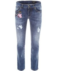 Dolce & Gabbana - Stretch Jeans With Patches - Lyst