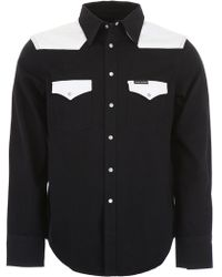 Calvin Klein Color Block Western Shirt - Black
