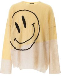 Raf Simons Oversized Sweater With Smiley - Natural