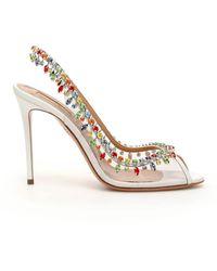 Aquazzura Temptation Crystal Sandals 105 - White