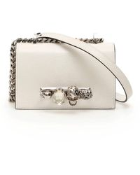 Alexander McQueen Small Jeweled Satchel - White