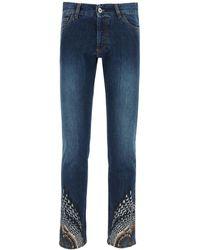 Marcelo Burlon Slim Jeans With Wings Print - Blue
