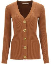 Tory Burch Simone Ribbed Cardigan Xs Wool - Brown