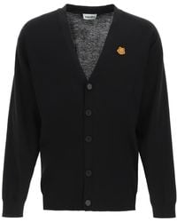 KENZO CARDIGAN OVER CON PATCH TIGER CREST - Nero