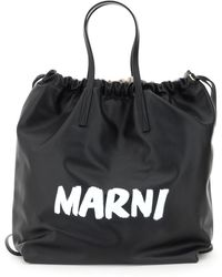 Marni Gusset Backpack With Logo - Black