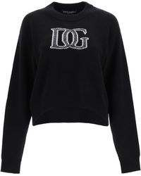 Dolce & Gabbana Sweater Lurex Logo Embroidery - Black