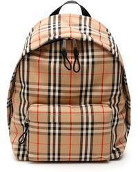 Burberry Vintage Check Jett Backpack Os Leather,cotton - Brown