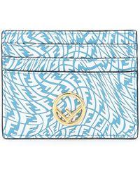 Fendi Ff Vertigo Card Holder Os Leather - Blue