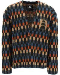 Edwin Hiji Cardigan In Multicolor Mohair S Wool - Black