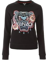 KENZO Sweatshirt With Tiger Passion Flower Embroidery - Black