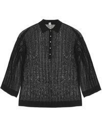 Totême Rib Knit Polo Jumper M - Black