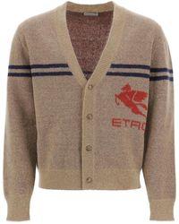 Etro Maxi Pegasus Cardigan - Brown
