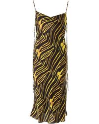 Marine Serre Zebra Print Long Dress - Black