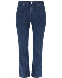 RED Valentino Cropped Laser Print Jeans 38 Denim - Blue