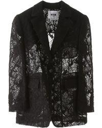 MSGM Lace Blazer - Black