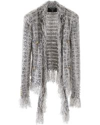 Balmain Fringed Knit Blazer - Multicolor