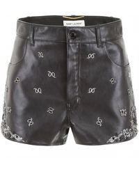 Saint Laurent Embroidered Leather Shorts - Black