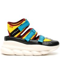 Versace Chain Reaction Cut-out Sneakers - Blue
