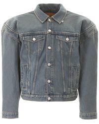 Martine Rose Denim Jacket With Oversized Shoulders - Blue