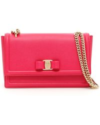 0a339cbd4985 Lyst - Ferragamo Mini Leather Wallet On Chain in Pink