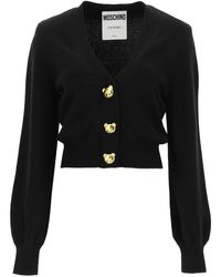 Moschino Cardigan With Teddy Bear Buttons - Black