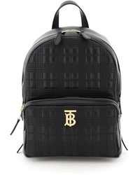 Burberry Quilted Check Lambskin Backpack - Black