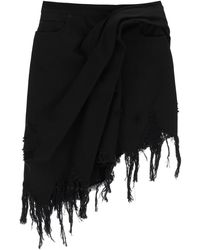 Alexander Wang Draped Denim Skirt - Black