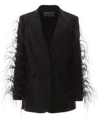 Valentino Feather-sleeve Blazer Jacket - Black