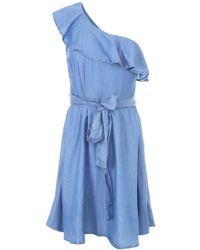 MICHAEL Michael Kors - One Shldr Ruffle Drs Women's Dress In Blue - Lyst