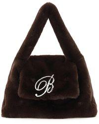 Blumarine B Strass Faux Fur Bag Os Faux Fur - Brown