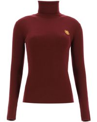 KENZO Turtleneck Jumper With Tigher Patch - Red