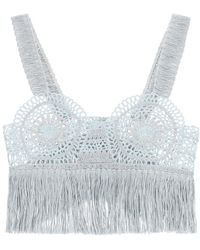 Stella McCartney Crochet Top With Fringes - Blue