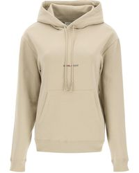 Saint Laurent Fleece Sweatshirt With Logo Print - Natural