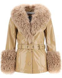 Saks Potts Shorty Jacket In Shiny Leather 2 Leather,fur - Natural