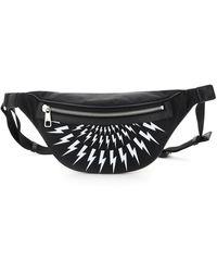 Neil Barrett Fair-isle Thunderbolt Belt Bag Os Leather,technical - Black