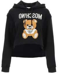 Moschino Cropped Sweatshirt With Teddy Bear Embroidery - Black
