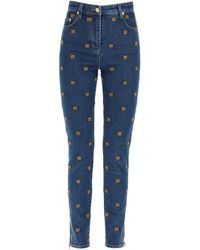 Moschino - All-over Teddy Bear Embroidered Denim Jeans - Lyst