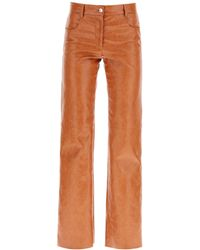 MSGM Grained Faux Leather Pants - Brown