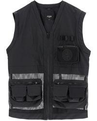 Fendi Cotton And Mesh Vest - Black
