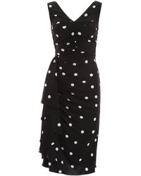 Dolce & Gabbana Polka-dot Ruffled Ruched Midi Dress - Black