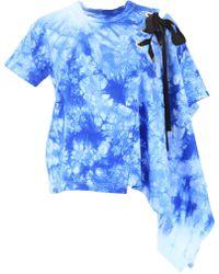 Sacai Asymmetric Tie-dye T-shirt - Blue