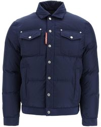 DSquared² Down Jacket With Pockets - Blue
