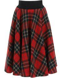 RED Valentino Tartan Wool Midi Skirt - Red