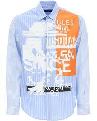 DSquared² Punk Graphic Print Shirt - Blue