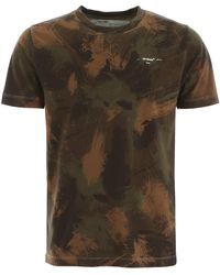 Off-White c/o Virgil Abloh Paint Camouflage T Shirt - Green